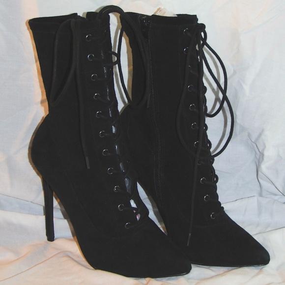 4b995e405f3 NEW Steve Madden Suede Boots Mid-Calf Black 7.5 M